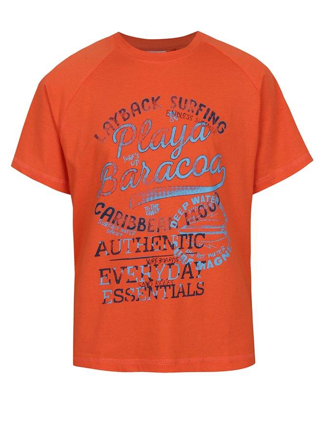 Oranžové klučičí triko s potiskem 5.10.15.