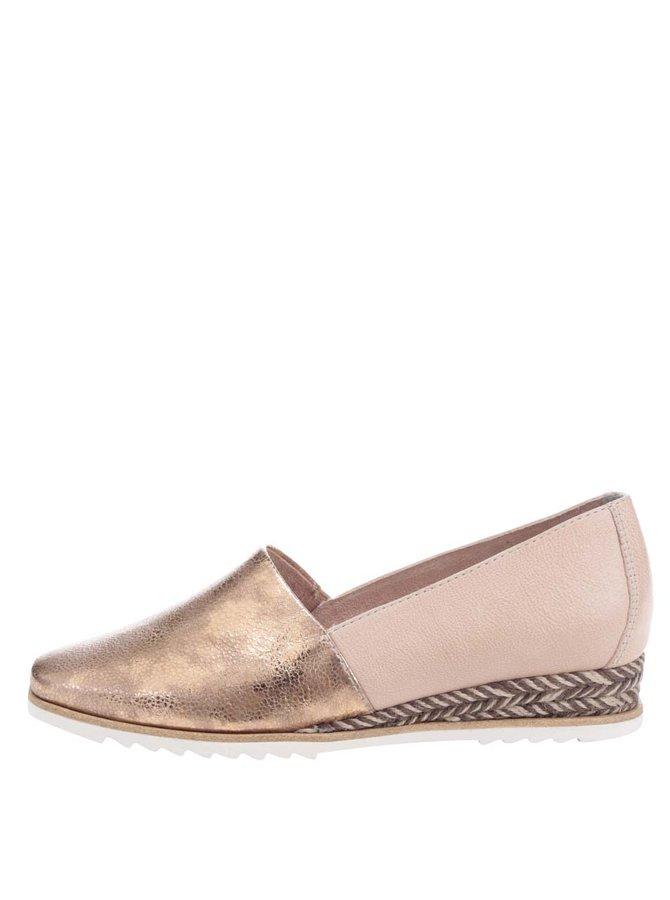 Pantofi leofer auriu rose Tamariscu talpă din rafie