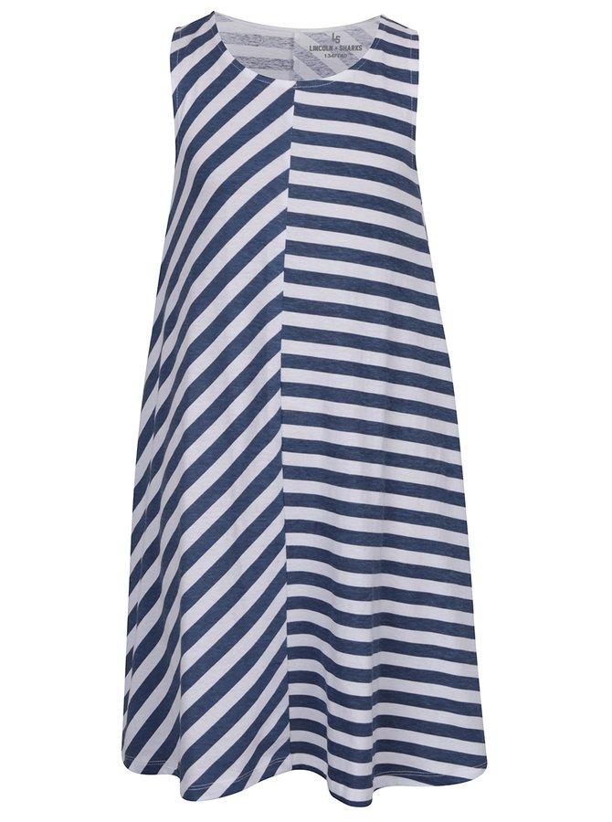 Rochie alb&albastru 5.10.15 cu model în dungi pentru fete