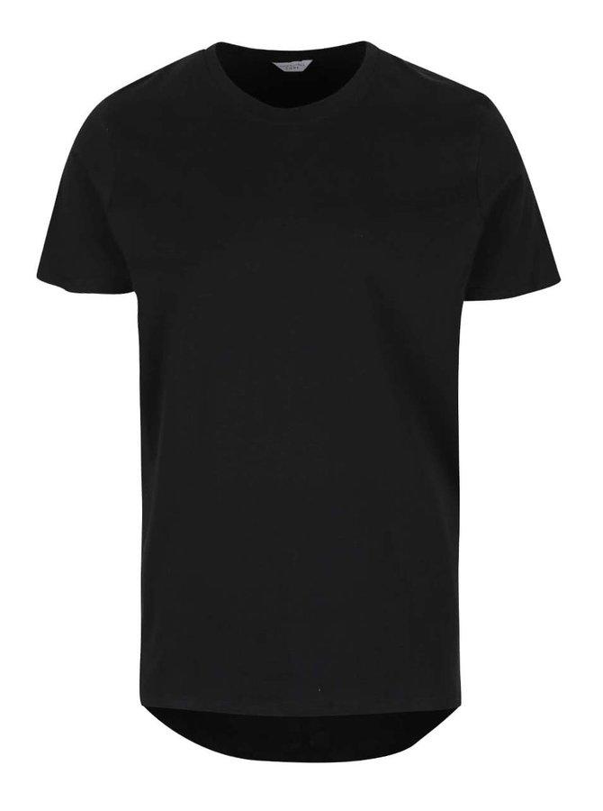 Černé triko s prodlouženým zadním dílem Jack & Jones Pacific Plica