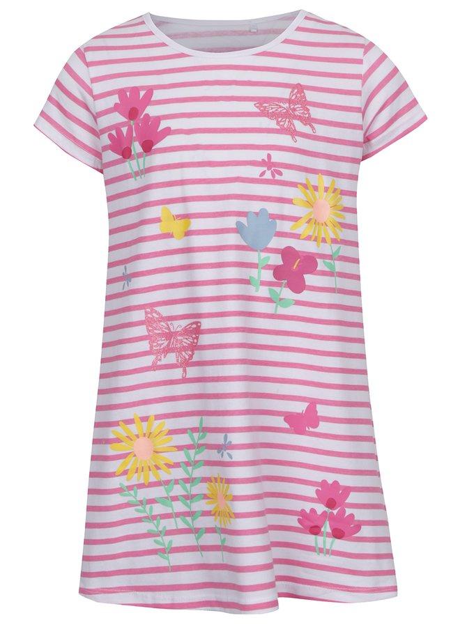 Rochie roz&alb  5.10.15 cu model în dungi pentru fete