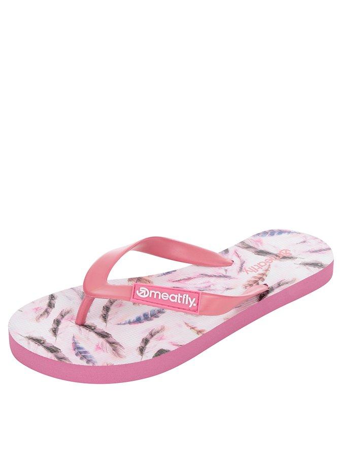 Șlapi roz  MEATFLY Wings cu imprimeu