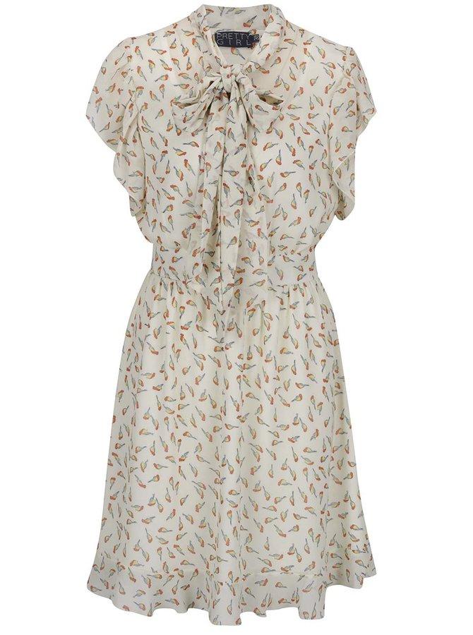 Béžové vzorované šaty s vázankou Pretty Girl