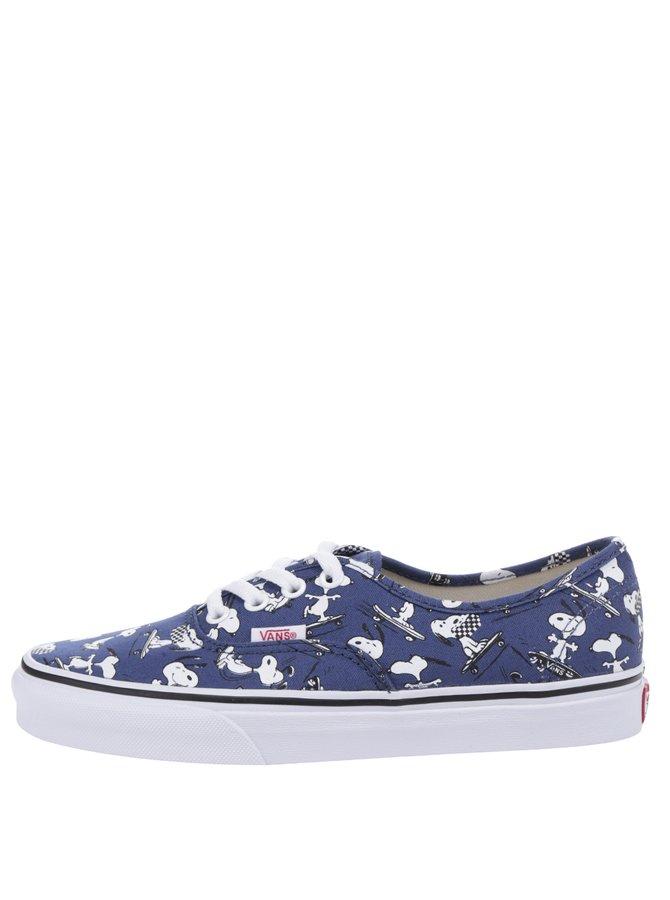 Tmavě modré dámské tenisky s motivem Snoopyho VANS Authentic