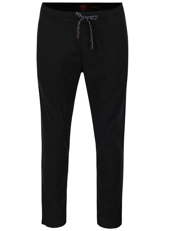 Černé pánské kalhoty s elastickým pasem s.Oliver
