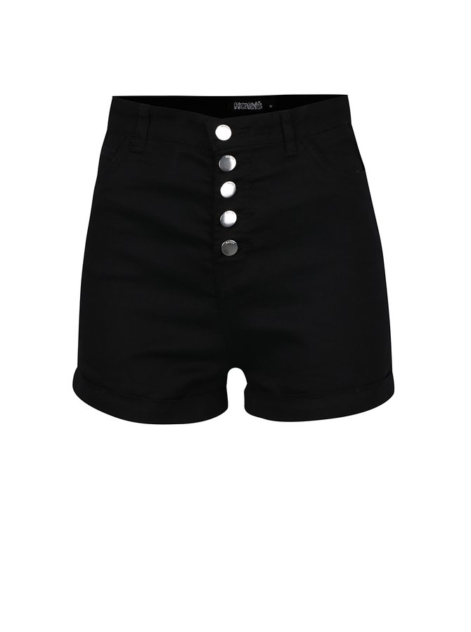 Černé džínové kraťasy s vysokým pasem Haily´s Debby