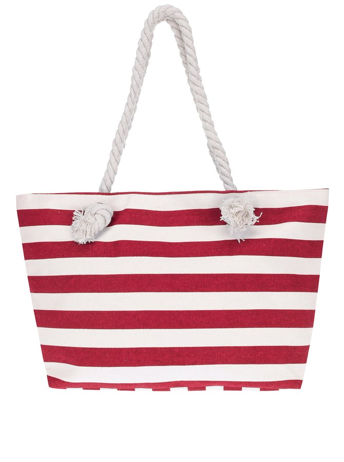 Geantă shopper roșu & alb Haily's Stripey cu model în dungi