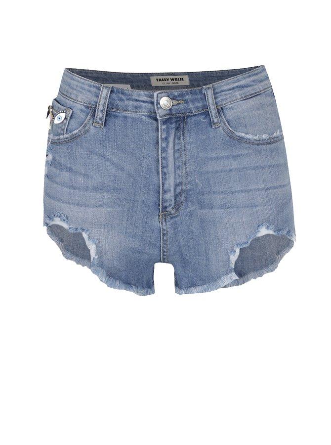 Pantaloni scurți albastru deschis TALLY WEiJL cu aspect uzat