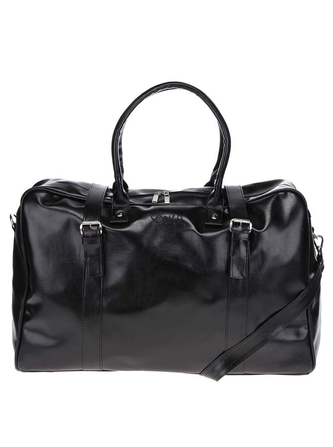 Černá pánská lesklá cestovní taška Solier