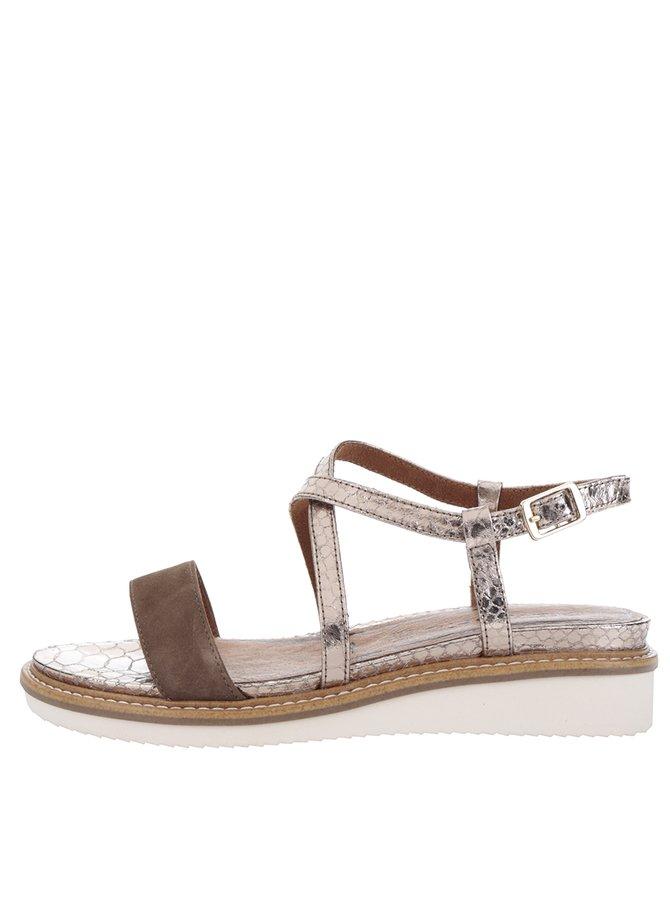 Sandale maro&auriu rose din piele cu platformă Tamaris