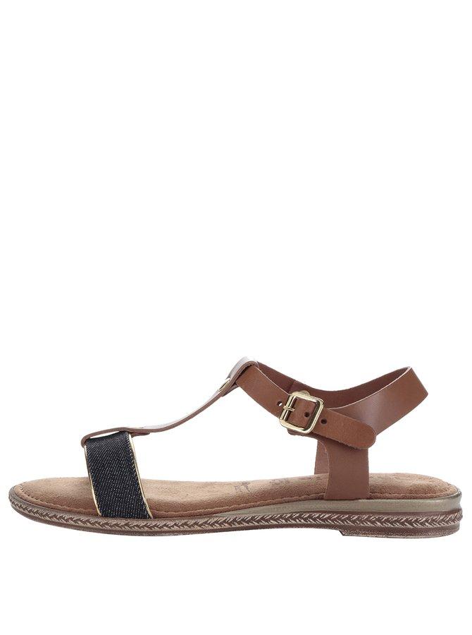 Sandale maro din piele Tamaris cu aplicație din denim