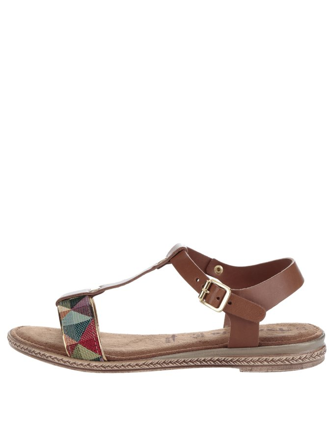 Sandale maro din piele Tamaris cu aplicație textilă