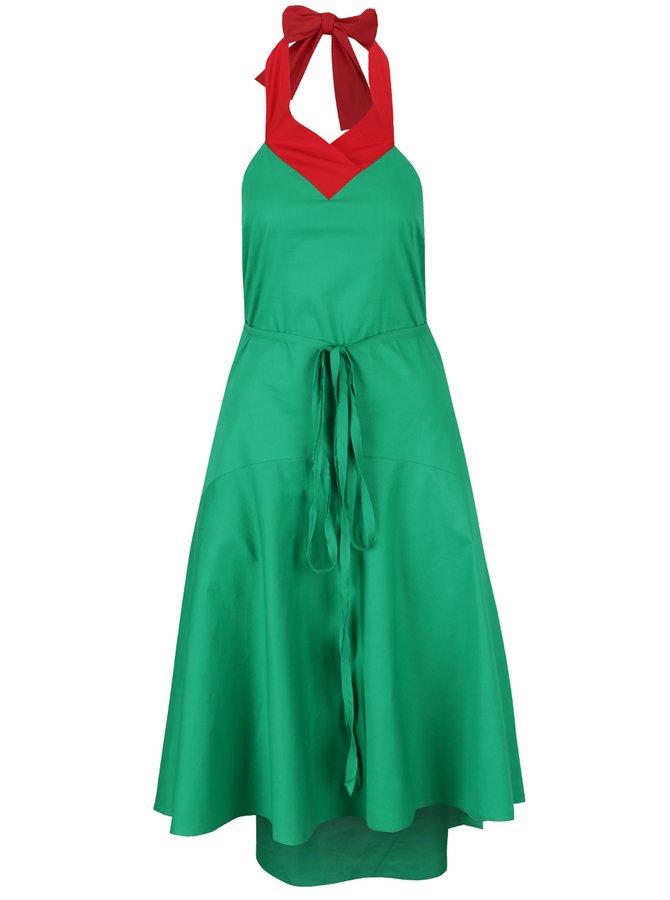 Červeno-zelené šaty se zavazováním za krk a odhalenými zády Lena Criveanu