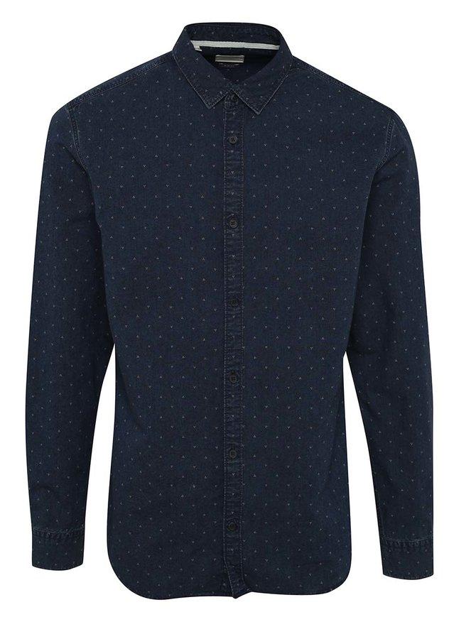 Tmavě modrá džínová vzorovaná slim fit košile Selected Homme One Jaimie