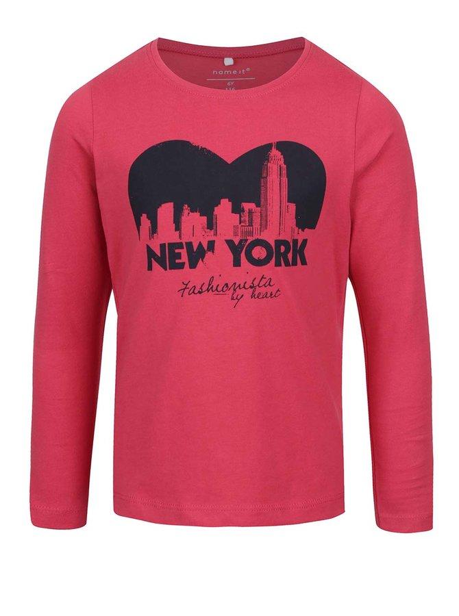 Bluză roz închis cu print frontal pentru fete name it Veenhi