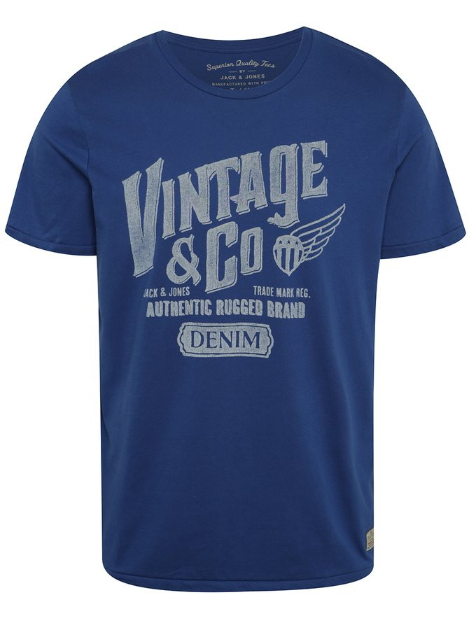 Tricou albastru Jack & Jones Custom 6 cu print