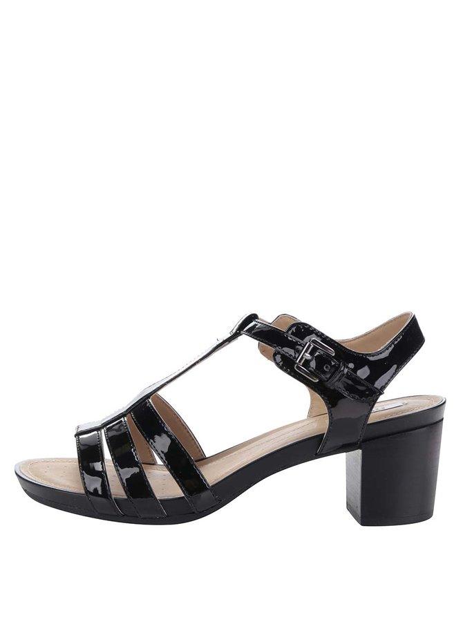 Čierne lesklé sandále na podpätku Geox Symi C