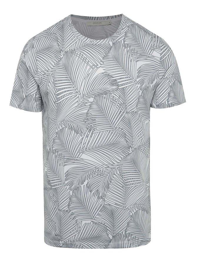 Šedo-bílé vzorované triko Jack & Jones Easton