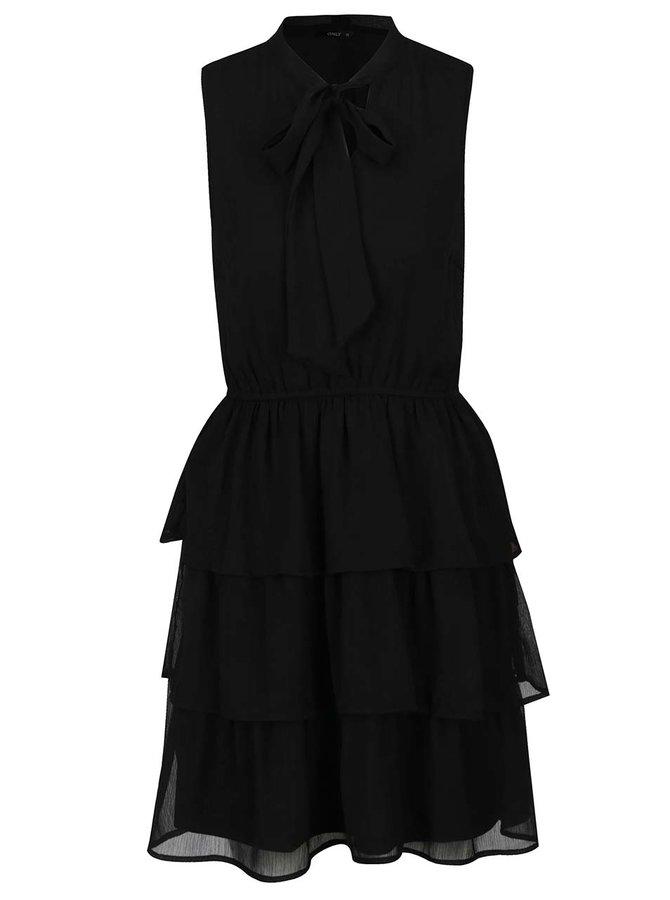 Černé šaty s volánky a vázankou ONLY Bubba