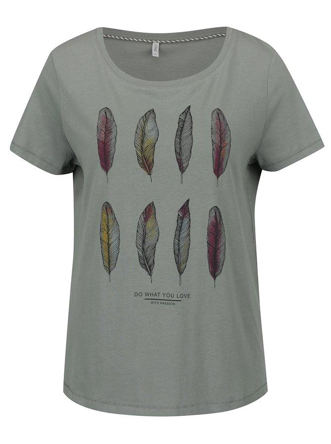 Khaki tričko s potiskem ONLY Alba