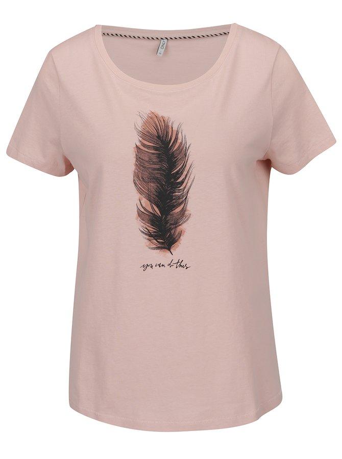 Tricou roz prăfuit ONLY Alba cu imprimeu
