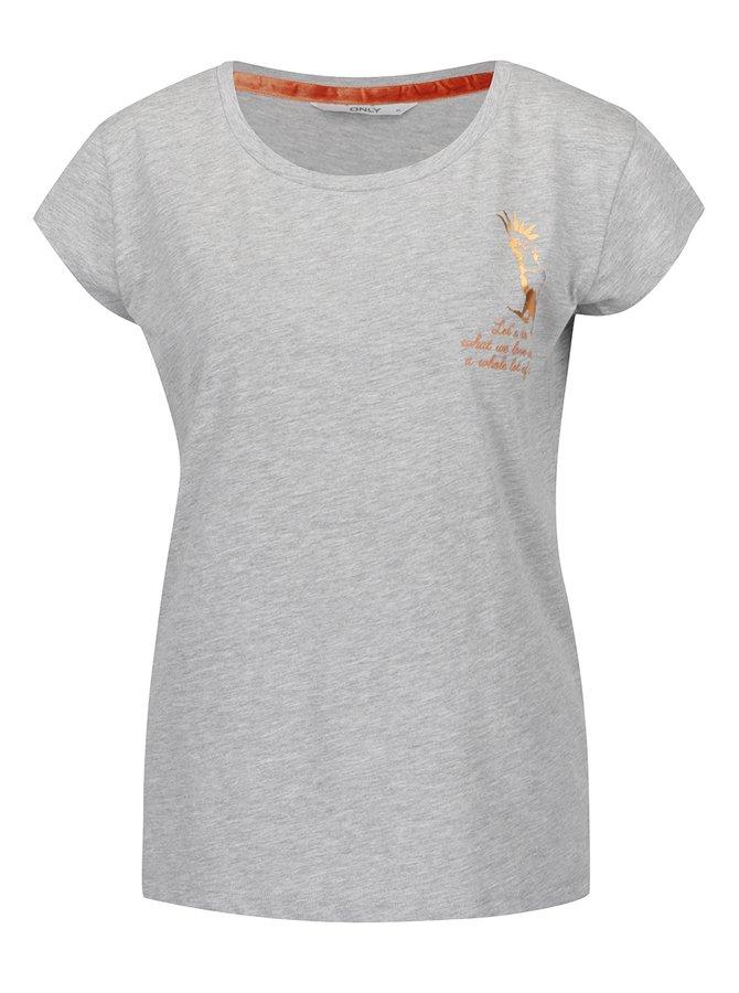 Šedé tričko s potiskem kakadu ONLY Tropic