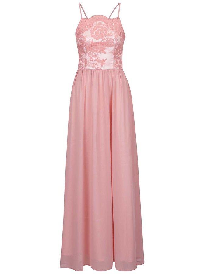 Rochie roz prăfuit cu aplicație din dantelă  Chi Chi London Trish