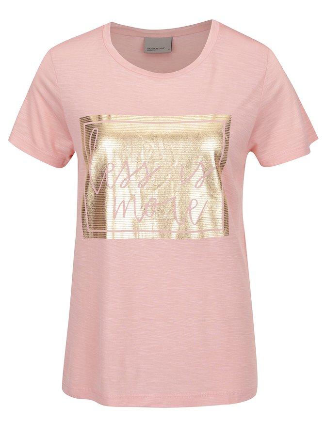 Starorůžové tričko s potiskem ve zlaté barvě VERO MODA Klarissa