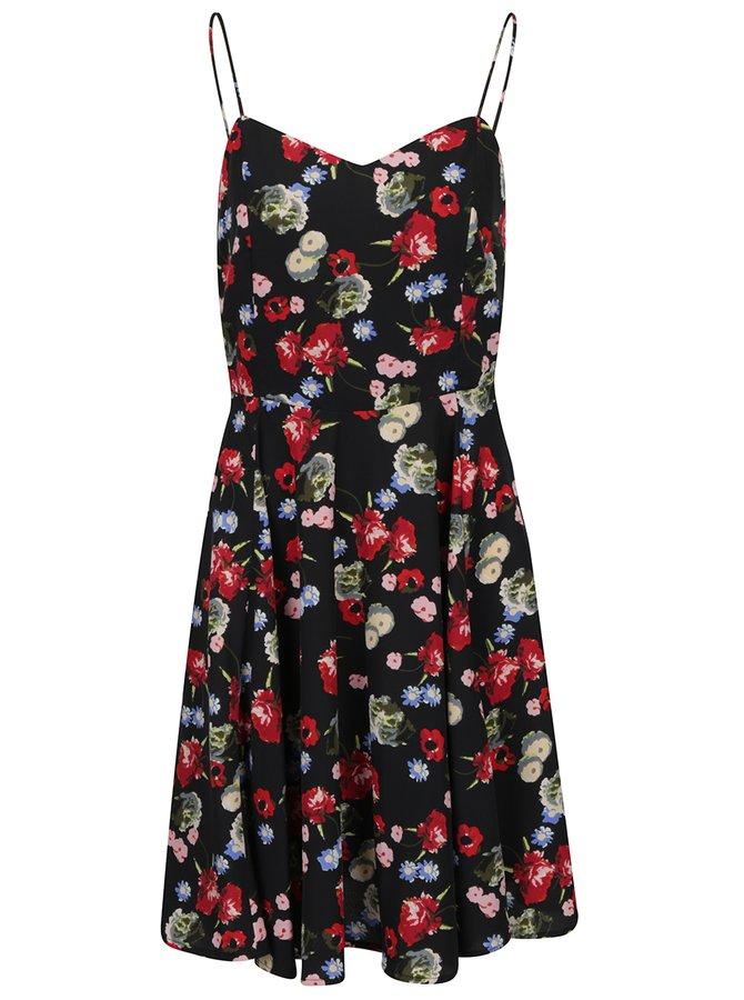 Červeno-černé květované šaty VERO MODA Mona