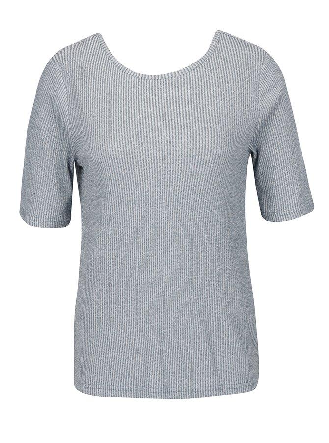 Modré pruhované tričko s překládanou zadní částí VERO MODA Kaitlyn