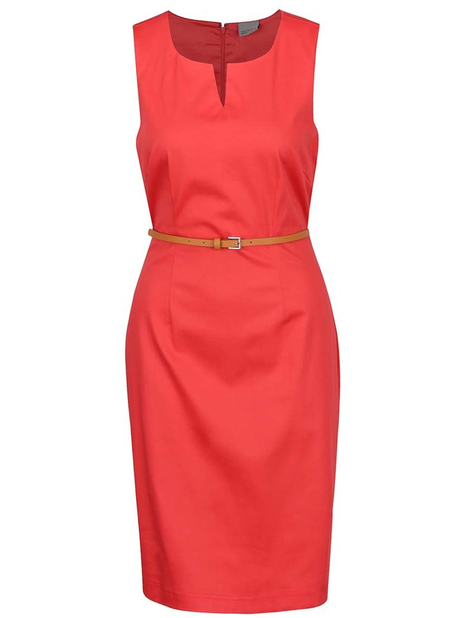 Červené pouzdrové šaty s páskem VERO MODA Pekaya