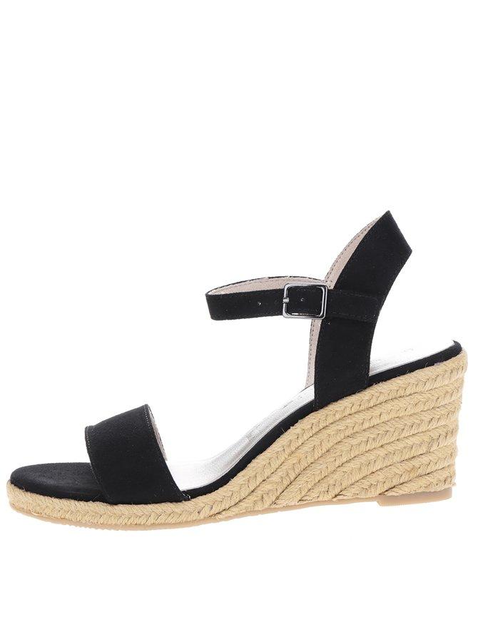 Sandale negre cu platformă din rafie Tamaris