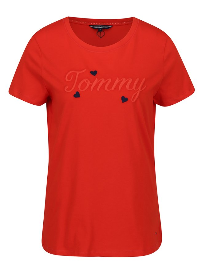 Červené dámské tričko s výšivkou Tommy Hilfiger