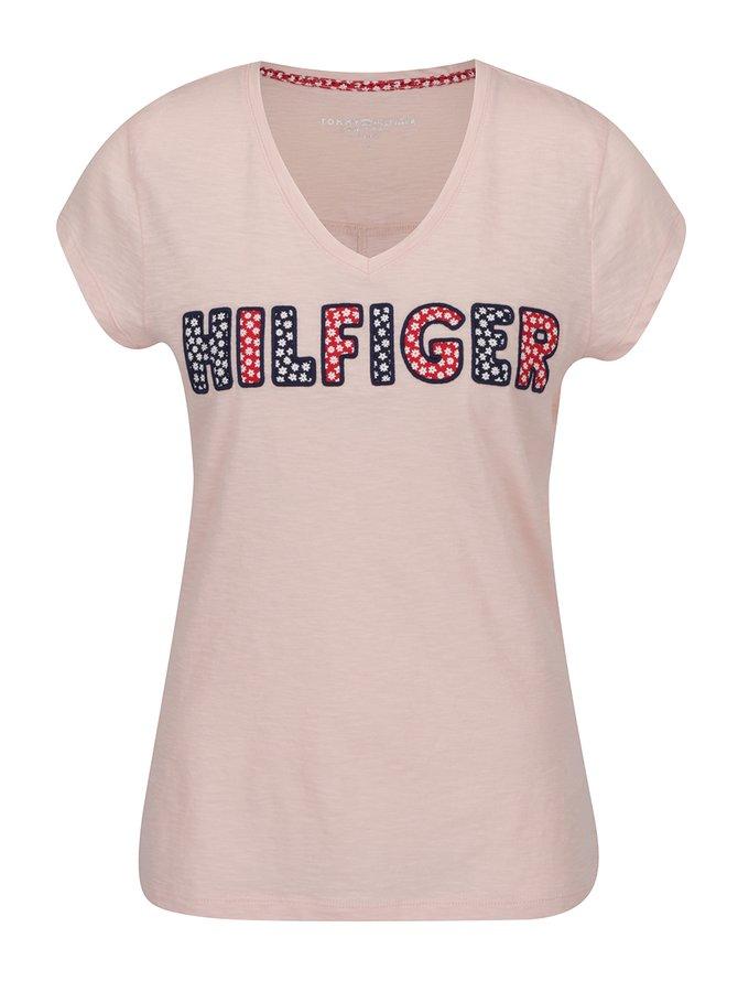 Světle růžové dámské tričko s výšivkou Tommy Hilfiger