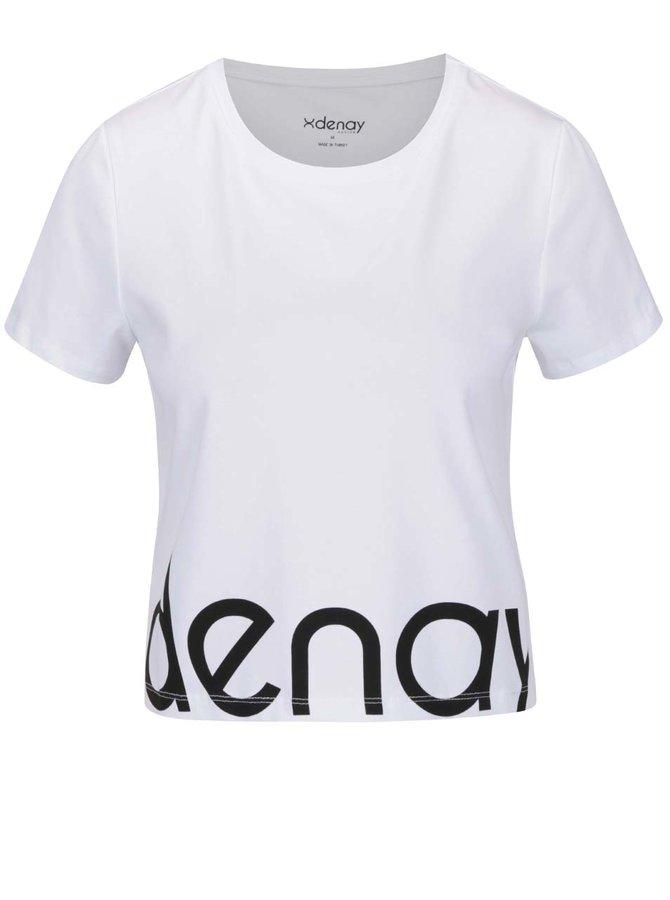 Biele skrátené tričko s krátkym rukávom a potlačou Denay