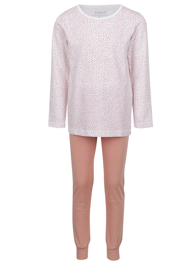 Oranžovo-bílé holčičí vzorované pyžamo name it Night
