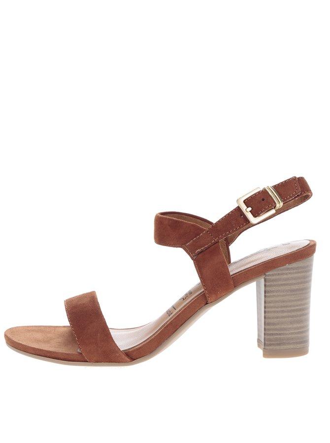Sandale maro din piele întoarsă cu toc Tamaris