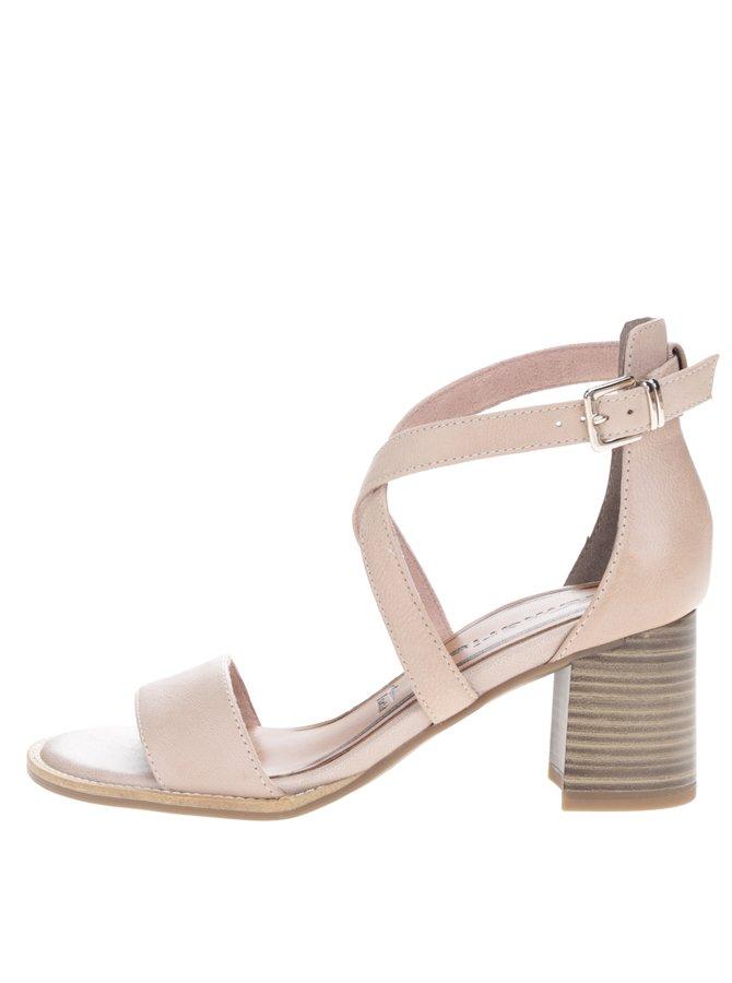 Béžové kožené sandálky s překříženými pásky na podpatku Tamaris