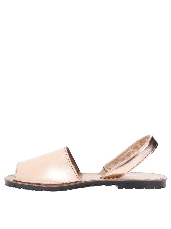 Kožené sandály v růžovozlaté barvě Tamaris