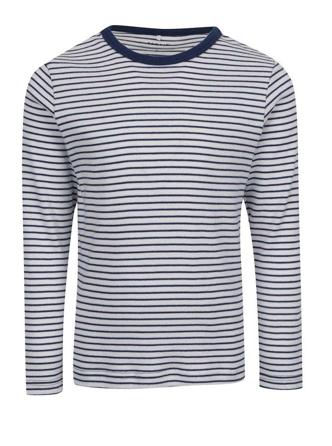 Krémovo-modré klučičí pruhované triko s dlouhým rukávem name it Villy