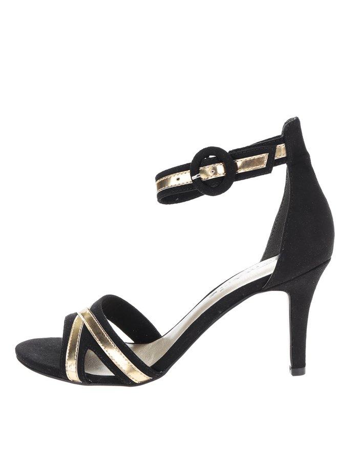 Sandale negre cu toc și aplicații aurii Tamaris