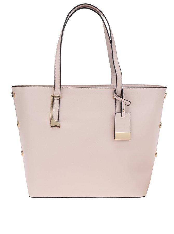 Světle růžový shopper s detaily ve zlaté barvě Miss Selfridge
