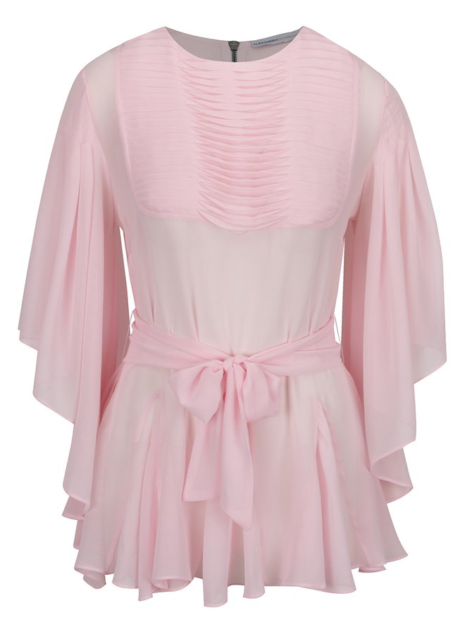Bluză roz cu volănașe și mâneci fluture Alexandra Ghiorghie Anya