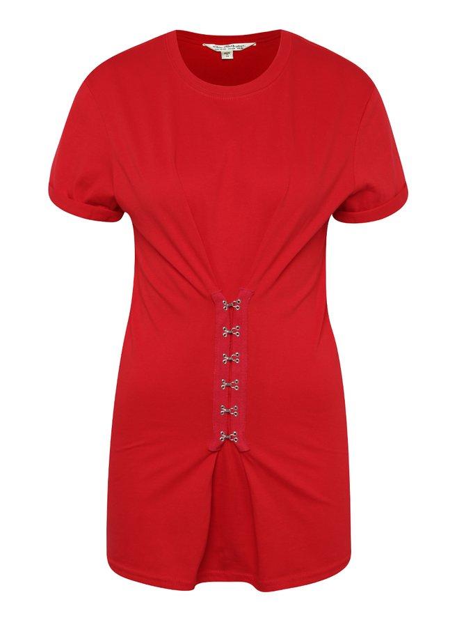 Tricou roșu cu bucle metalice Miss Selfridge