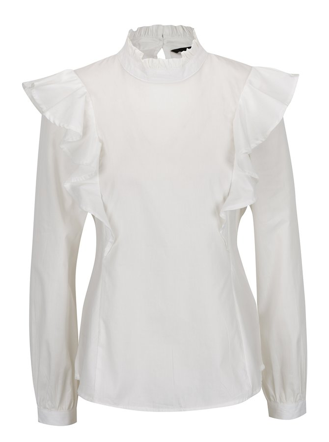 Bluză albă VERO MODA Chris cu volane decorative