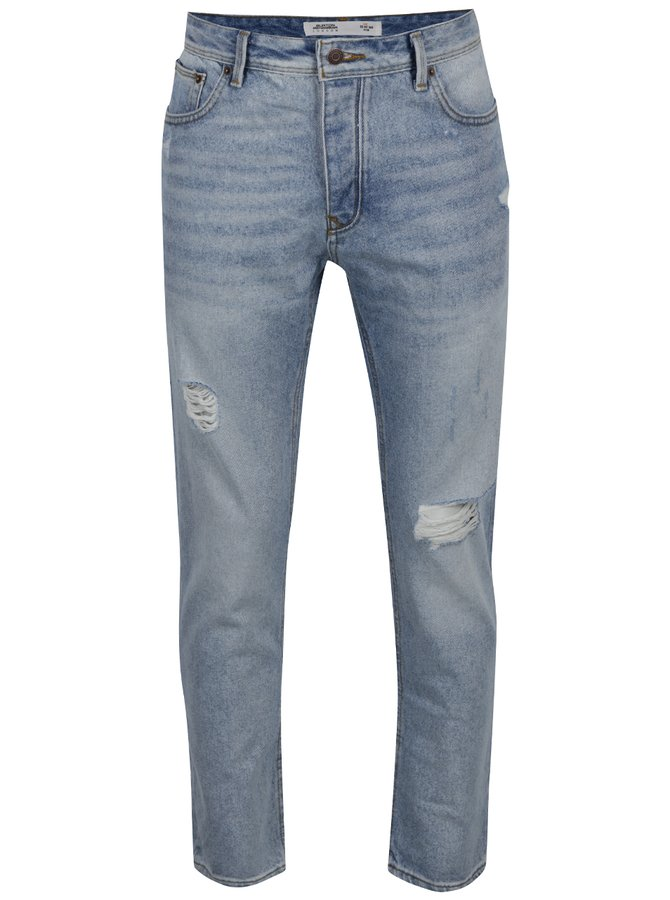 Modré slim džíny s potrhaným efektem Burton Menswear London