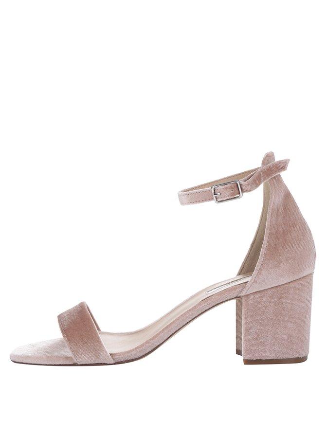 Sandale roz părfuit Dorothy Perkins cu aspect de piele întoarsă