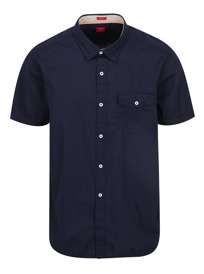 Tmavě modrá pánská pruhovaná košile s.Oliver