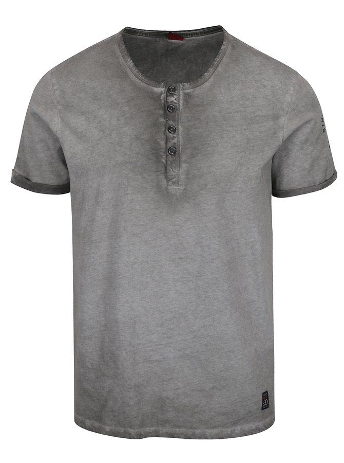 Šedé pánské žíhané triko s knoflíky s.Oliver