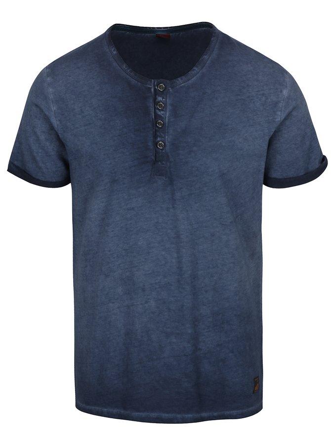 Modré pánské žíhané triko s knoflíky s.Oliver